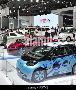 BEIJING, CHINE - Toyota Motor Corp.'s booth est indiqué dans le fichier photo prise le 20 novembre 2014, à un niveau international motor show qui a eu lieu à Guangzhou, province de Guangdong, en Chine. Toyota de nouvelles ventes de voitures en Chine ont bondi de 12,5 % en 2014 pour atteindre un record de 1,03 millions de dollars annuels, les véhicules dépassant le million pour la première fois. (Kyodo)