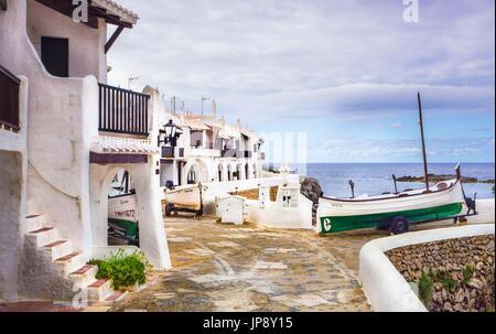 Espagne Baléares, l'île de Minorque, vieux village de pêcheurs de Binibeca Banque D'Images