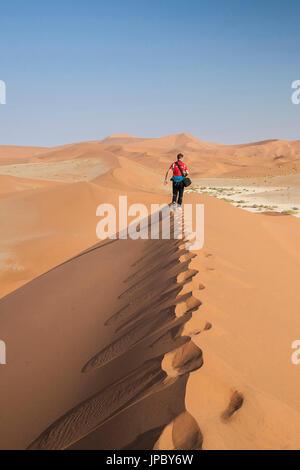 Balades touristiques sur les dunes de sable façonné par le vent du désert du Namib Naukluft Deadvlei Sossusvlei Parc national en Afrique Namibie