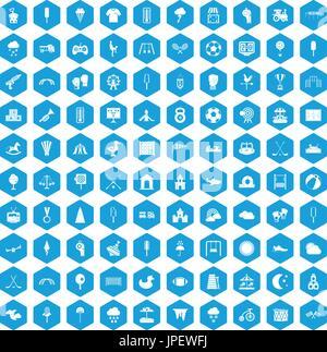 Aire de jeux 100 blue icons set Banque D'Images