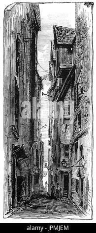 1870: Fermeture du défenseur est l'un des nombreux ferme étroit de l'extinction de la Royal Mile, dans la vieille Banque D'Images