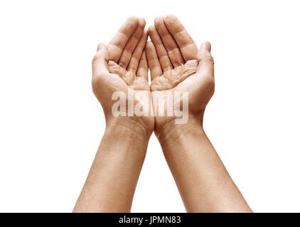 L'homme creux des mains montrant quelque chose sur fond blanc. Les paumes vers le haut. Produit de haute résolution Banque D'Images