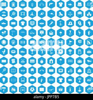 Aire de jeu 100 icônes bleu Banque D'Images