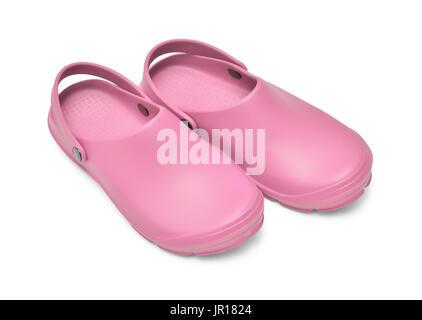 Chaussures Crocs. Une paire de sabots rose isolé sur fond blanc w/ path Banque D'Images