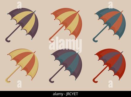 Parapluies ensemble d'icônes, esprit vintage. Parasol de plage collection rétro multicolore des éléments de conception. Banque D'Images