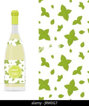 Modèle transparent coloré vecteur menthe et bouteille de limonade Banque D'Images
