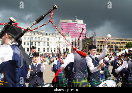 George Square, Glasgow, Ecosse, Royaume-Uni. 7e août, 2017 En direct de la tuyauterie ! - Le Festival International Banque D'Images