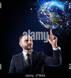 Connexion internet Global concept. Monde fournie par la NASA Banque D'Images