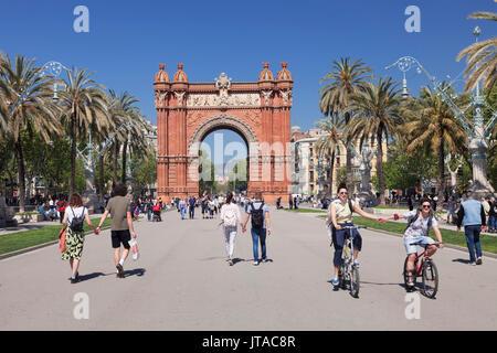 Arc de Triomf, par l'architecte Josep Vilaseca i Casanovas, Barcelone, Catalogne, Espagne, Europe Banque D'Images