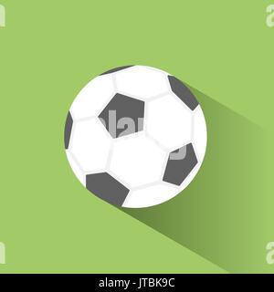 Ballon de soccer avec l'icône de l'ombre sur fond vert Banque D'Images