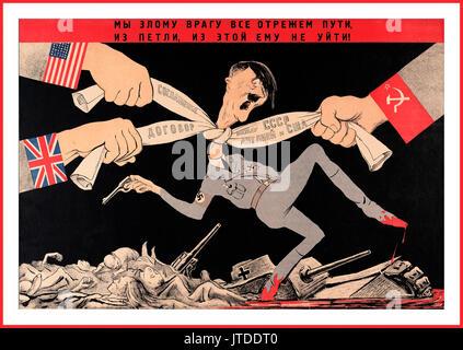 Monde soviétique de Russie Vintage Affiches de propagande de la Seconde Guerre mondiale Hitler étranglés par la Banque D'Images