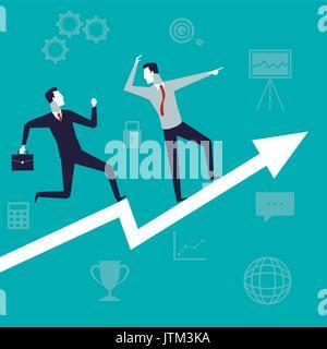 Fond de couleur avec la croissance de l'entreprise hommes exécutif Banque D'Images