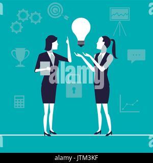 Fond de couleur avec des femmes cadres dans le secteur de la production d'idées la croissance de l'entreprise Banque D'Images