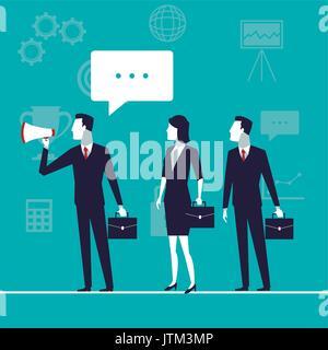 La croissance de l'activité de fond de couleur avec l'équipe de direction avec mégaphone et dialogue de texte Banque D'Images