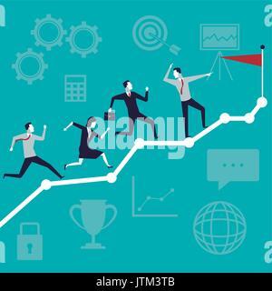La croissance des activités d'arrière-plan Couleur de l'équipe de direction avec l'exécution à haut drapeau Banque D'Images