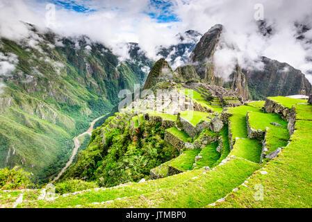 Machu Picchu, Pérou - Ruines de l'Empire Inca, ville et montagne Huaynapicchu, Vallée Sacrée, Cuzco. Amazing place Banque D'Images