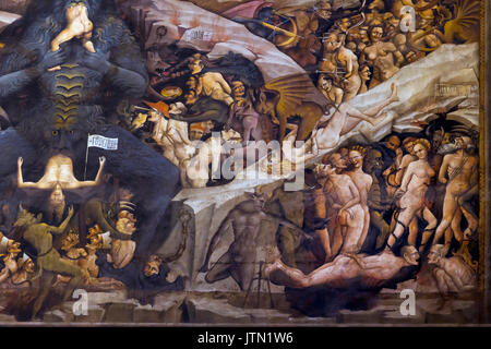 Lucifer de manger des pécheurs, le ciel et l'enfer, fresque Cappella Bolognini, Chapelle des Mages, par Giovanni Banque D'Images