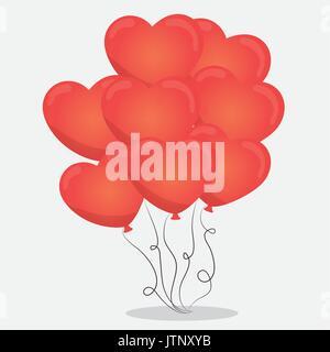 Ballons coeur rouge vecteur icône illustration graphic design Banque D'Images