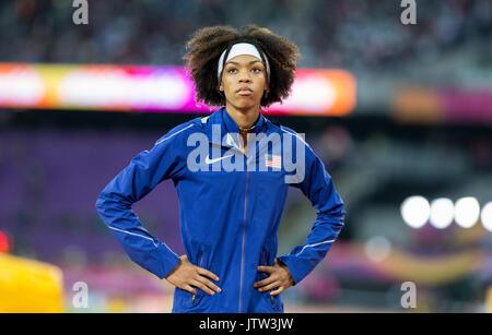 Londres, Royaume-Uni. 10 août, 2017. VASHTI CUNNINGHAM de USA pendant le saut pendant les championnats du monde Banque D'Images