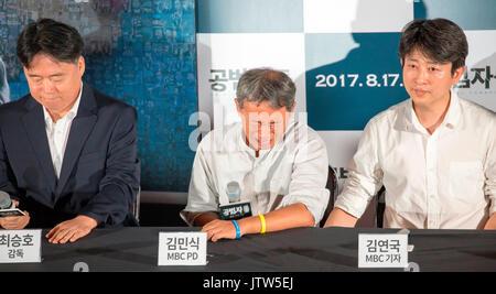 Choi Min-Sik, Seung-Ho Kim Kim et Yeon-Guk, Aug 9, 2017: Kim Min-Sik (C), un producteur de théâtre et de divertissement Banque D'Images