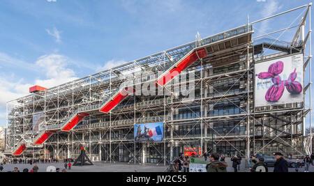 Centre Pompidou, Centre national d'art et de culture Georges Pompidou, Beaubourg, high-tech ou de l'architecture Banque D'Images