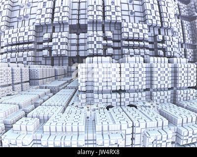 Fractale générée en 3d, la technologie, l'avenir de labyrinthes fractale Banque D'Images