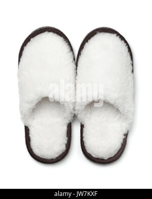 Paire de chaussons fourrure isolated on white Banque D'Images