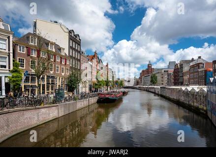 Le Singelgracht à Bloomenmarkt, Amsterdam, Hollande du Nord, Pays-Bas Banque D'Images