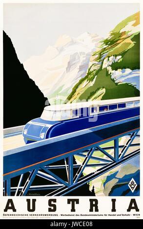'Autriche' 1930 Tourisme affiche montrant une rationalisation d'Austro Daimler BBÖ VT 63 train de traverser un pont. Banque D'Images