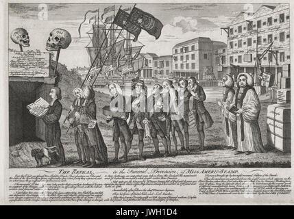 """L'abrogation, ou aux funérailles de Mme Americ-Stamp - Illustration montre un groupe d'hommes dans une procession funéraire sur les rives de la Tamise avec une rangée d'entrepôts dans l'arrière-plan, dont l'une est intitulée 'Le Sheffield et Birmingham Warehouse Goods désormais expédier'd pour l'Amérique."""" à la tête de la procession, le Dr W. Scott se dresse à l'ouvrir les portes de la tombe, il détient le texte de son sermon, un chien se soulage sur sa jambe. Deux porte-drapeaux suivent, derrière eux se trouve George Grenville portant un enfant moyennes Coffin, prochains sur la liste sont cinq hommes, dans divers états de détresse, suivie"""