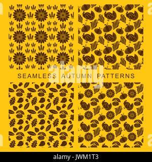 Modèle sans couture d'automne. Les feuilles des arbres, de la Turquie, de maïs et de citrouille. Banque D'Images