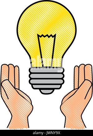 L'icône de l'ampoule avec des feuilles sur fond blanc vector illustration Banque D'Images