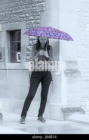 Woman using mobile phone s'abritant sous un parapluie mouillé sur un jour de pluie à Oxford en août - monochrome Banque D'Images