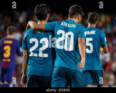 Camp Nou, Barcelona, Espagne. 13 août, 2017. Super Coupe d'Espagne entre le FC Barcelone et le Real Madrid. Asensio Banque D'Images