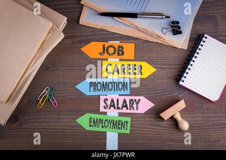 Concept d'emploi. Panneau de papier sur un bureau en bois. Banque D'Images