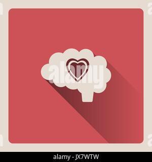 Dans l'amour la pensée par cerveau illustration sur la place rouge avec l'ombre d'arrière-plan Banque D'Images