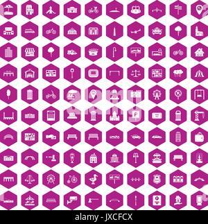 100 icônes ville violet hexagonale Banque D'Images