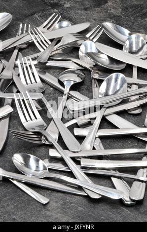 Cuillère fourchette couteau coutellerie Banque D'Images