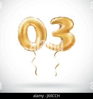 Nombre d'Or 03 vecteur zéro trois ballon métallique. Ballons d'or partie de la décoration. Anniversaire signe pour Banque D'Images