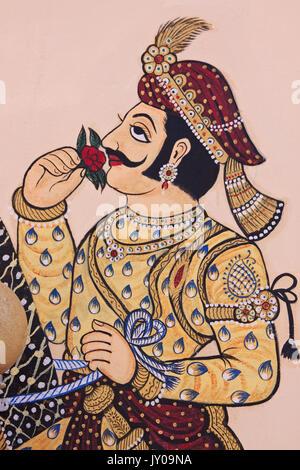 Udaipur, Inde - 5 mars 2015: Détail de l'art de mur dans le Rajasthan traditionnel dans l'étable le Palais de la Banque D'Images