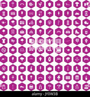 100 icônes parc violet hexagonale Banque D'Images