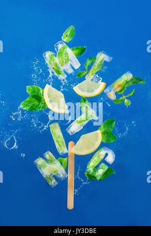 Ice Cube congelé un lettrage en feuilles de menthe, de tranches de citron et d'oranges sur un fond bleu avec les projections d'eau. texte dit de fondre.