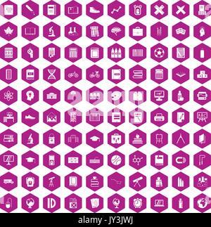 100 icônes de l'école violet hexagonale Banque D'Images