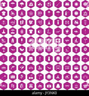 100 icônes d'été violet hexagonale Banque D'Images