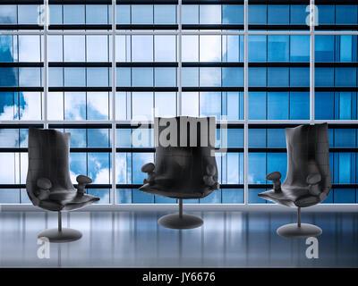 Chaises vides dans la salle de réunion avec office building background Banque D'Images