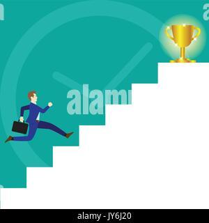 Un homme d'affaires est en cours d'exécution sur l'escalier blanc à un scintillement or trophy sur le dessus et Banque D'Images