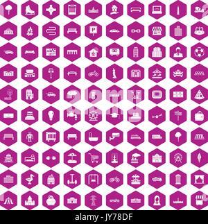 100 icônes urbaines violet hexagonale Banque D'Images