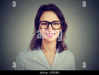 Happy cute woman in glasses Banque D'Images