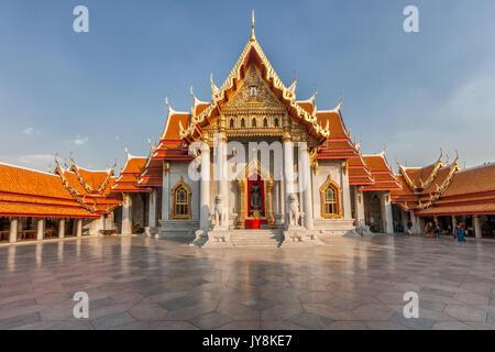 Le Temple de marbre au coucher du soleil, Bangkok, Thaïlande Banque D'Images