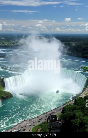 Horseshoe Falls, Niagara Falls, Ontario Canada (vue de dessus). Banque D'Images